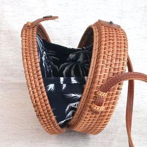 Circular Rattan Purse - Crossbody Bag - Palm Tree
